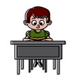 schoolboy on desk vector image
