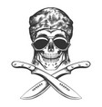 skull with machete vector image