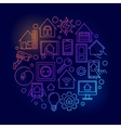 Smart home bright line vector image