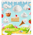 Whipped cream milk cream ice cream cake cupcake vector image