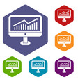 growth graph on the computer monitor icons set vector image