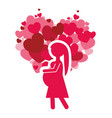 pink silhouette mom pregnancy and heart vector image