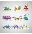 flat retro color stickers - set nine vector image vector image