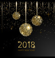 2018 happy new year background with golden glitter vector image