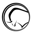 Emblem with a black silhouette of a bull vector image vector image