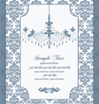 blue vintage damask invitation card vector image