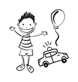 hand drawn boy with toys vector image