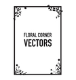 black floral corners background vector image vector image