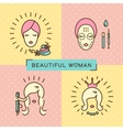 Beauty banner Beautiful woman set line icon art vector image