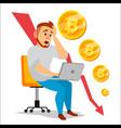 bitcoin crash graph bitcoin price drops vector image