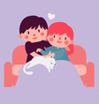 Couple Hugging on Sofa with Cat vector image