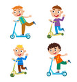 cute of boy on scooter having vector image