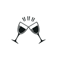 simple black Two clink glasses icon on white vector image