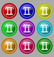 Gemini icon sign symbol on nine round colourful vector image