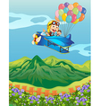 Monkeys on a plane with balloons vector image vector image