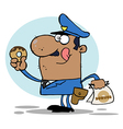 Cartoon police officer with donut vector image vector image