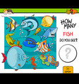 counting fish educational activity game vector image vector image