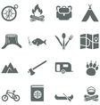 Set of icons for tourism travel and camping vector image vector image