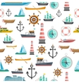 Nautical symbols vintage seamless pattern vector image
