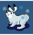 hare and snowflakes vector image