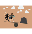 Balancing between business people and weight vector image