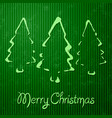 christmas greeting card with green background vector image