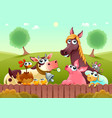 funny farm animals smiling near the fence vector image