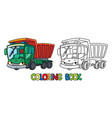 funny small dump truck with eyes coloring book vector image