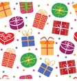 Gift boxes with stars seamless pattern vector image