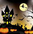Happy Halloween and Pumpkin Witch Bats Objects in vector image