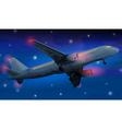 Modern airplane at night vector image