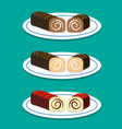 set of swiss roll on dish in flat style vector image