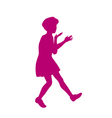 Silhouette of little girl vector image