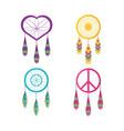 set dreamcatcher symbol hippie concept vector image