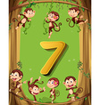 Number seven with 7 monkeys on the tree vector image