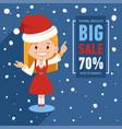 christmas big sale banner with santa vector image