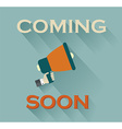 Coming Soon Sign on Teal Background vector image