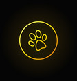 dog paw print yellow icon vector image