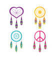 set dreamcatcher symbol hippie concept vector image