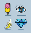 set fashion pop art patches design vector image