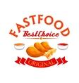 Fast food label Crispy fried chicken legs vector image