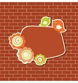 Vintage frame with two birds on the brick wall vector image vector image