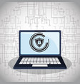cyber security technology padlock shield vector image