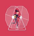 Businesswoman in a hamster wheel vector image