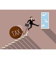 Businessman jumping to success with heavy tax vector image