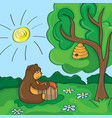 funny cartoon - cute bear with honey vector image