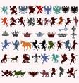 set of vintage heraldic elements for design vector image