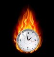 clock in fire on black background for design vector image vector image