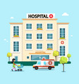 Hospital flat design with ambulance car and woman vector image