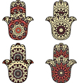 Set of beige orange hamsa vector image